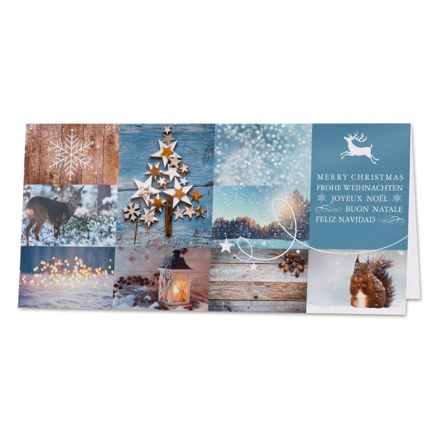 Kerstkaart met sfeerbeelden in blauwe tinten (847.003)