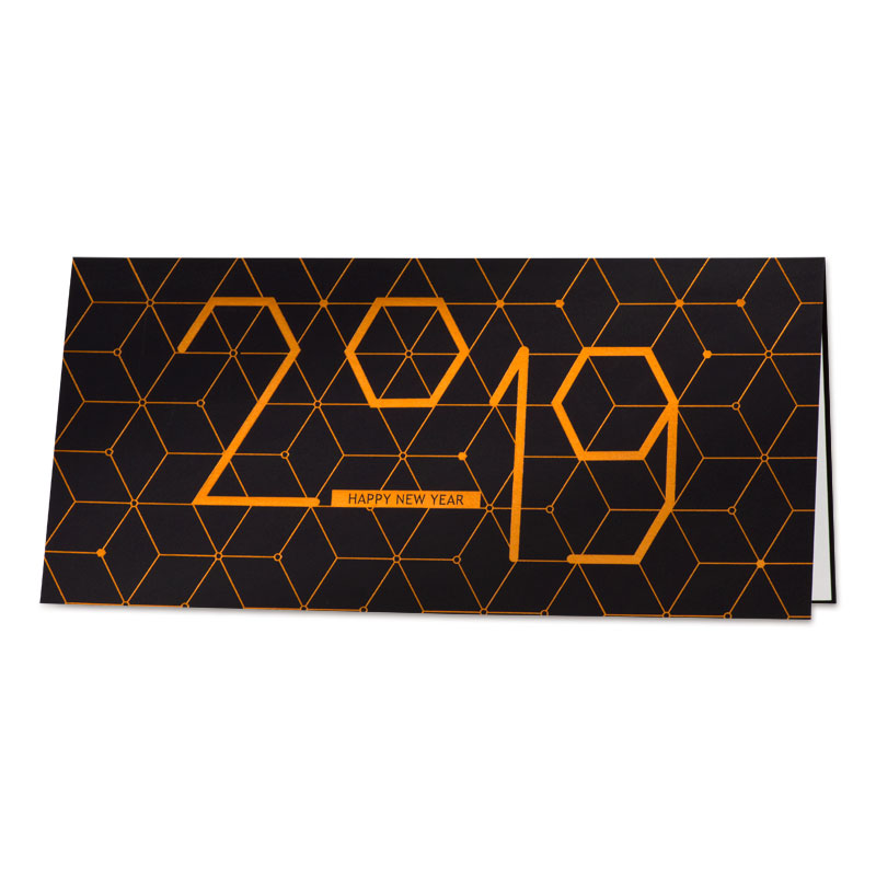 Nieuwjaarskaart 2019 met geometrisch patroon in koperfolie (848.003)