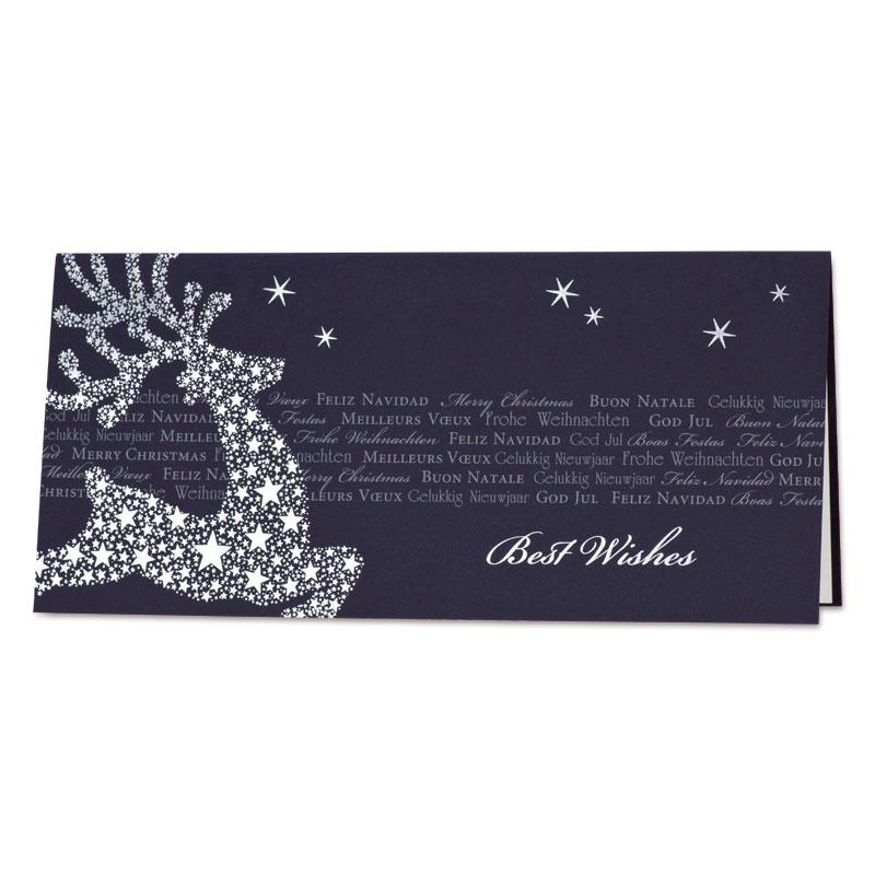 Donkerblauwe kerstkaart met hert in zilveren sterren (848.004)