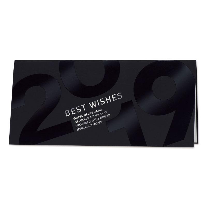 Zwarte nieuwjaarskaart met glanzende 2019 (848.015)