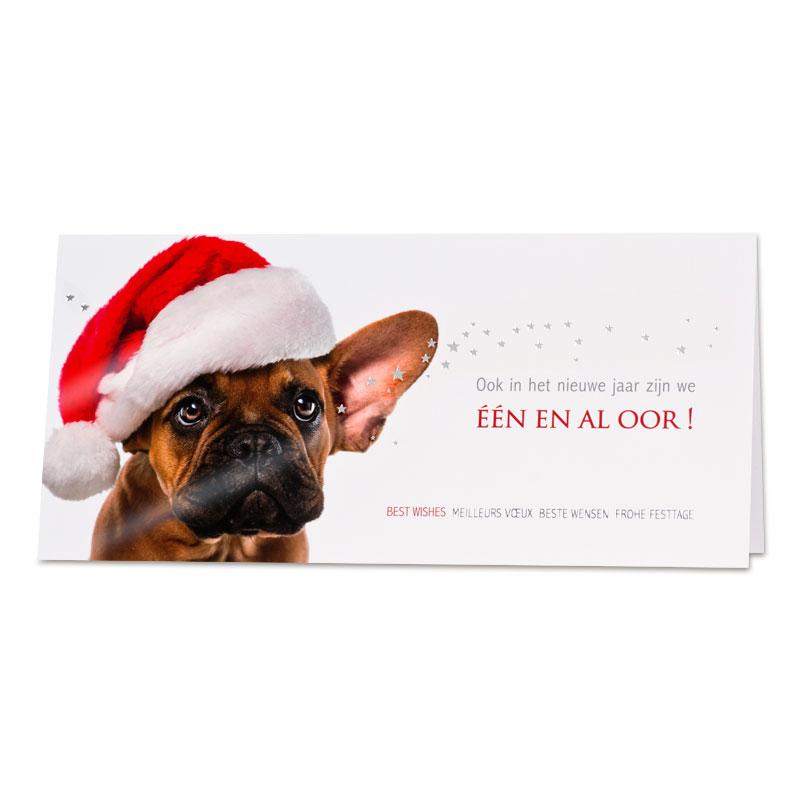 Grappige kerstkaart bulldog met rode kerstmuts (848.019)