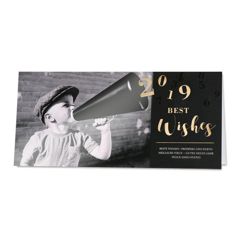 Nieuwjaarskaart jongen met megafoon (848.024)