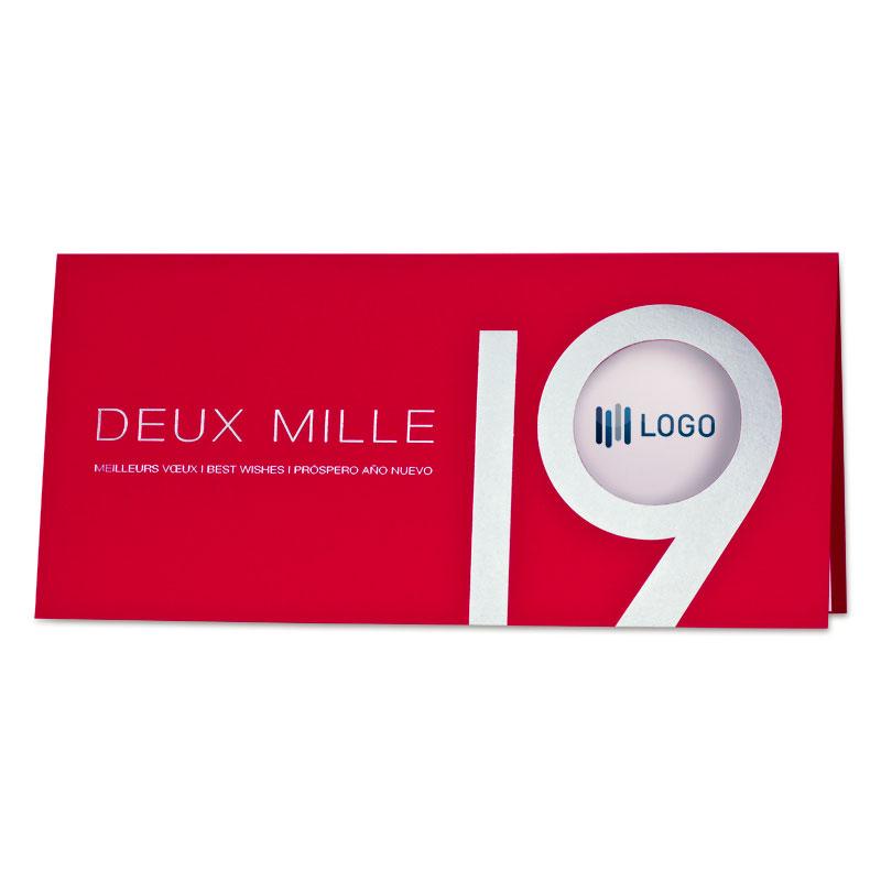 Rode kerstkaart met zilveren 2019 - Franstalig (848.030)