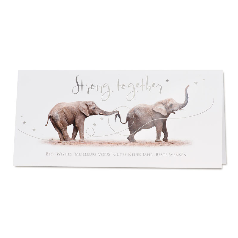 Nieuwjaarskaart olifanten 'Strong together' (848.031)