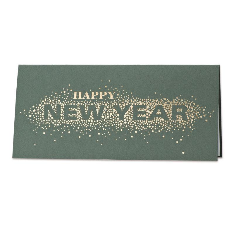 Groene nieuwjaarskaart met sterren in goudfolie (848.036)