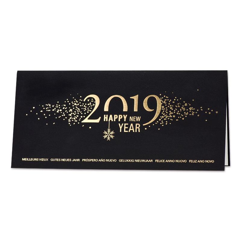 Zwarte nieuwjaarskaart met gouden 2019 (848.041)