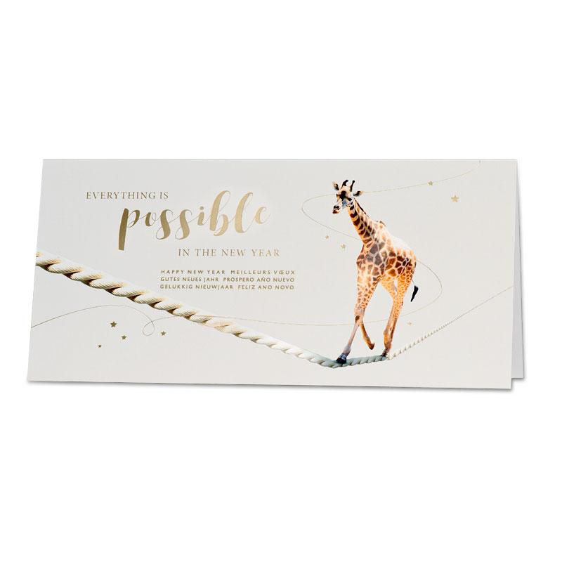 Trendy nieuwjaarskaart met giraf op dansend koord (848.043)