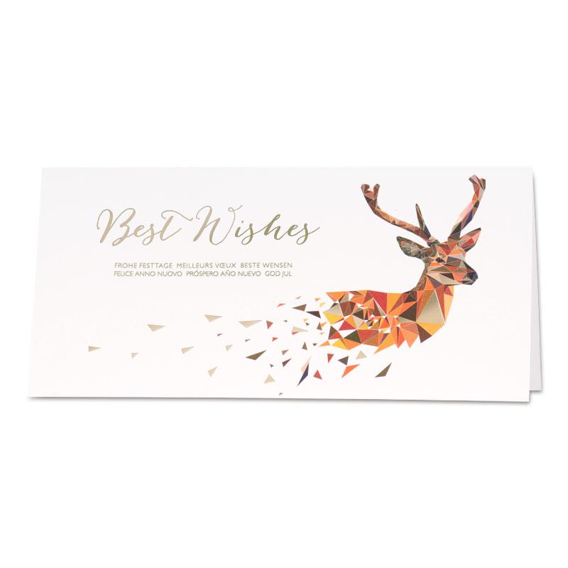 Witte nieuwjaarskaart met hert in geometrische stijl (848.047)