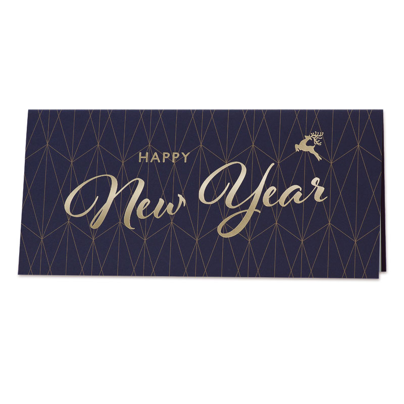 Donkerblauwe nieuwjaarskaart met geometrisch patroon (848.048)
