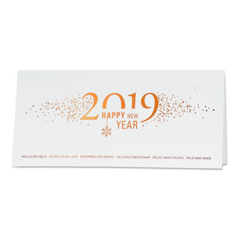Glanzende witte kerstkaart 2019 met koperfolie (848.061)