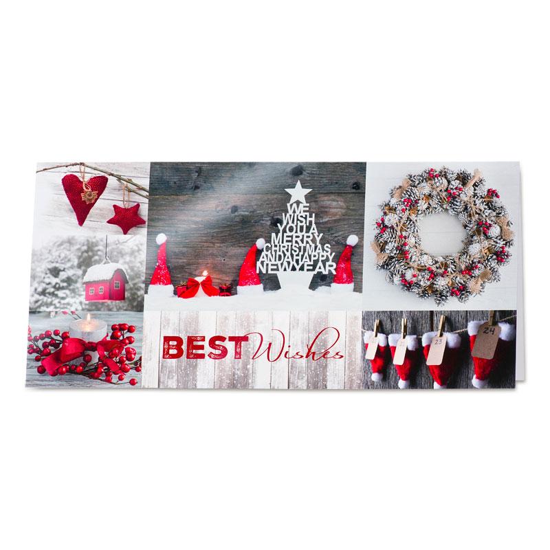 Traditionele kerstkaart met sfeerbeelden in rode tinten (848.089)