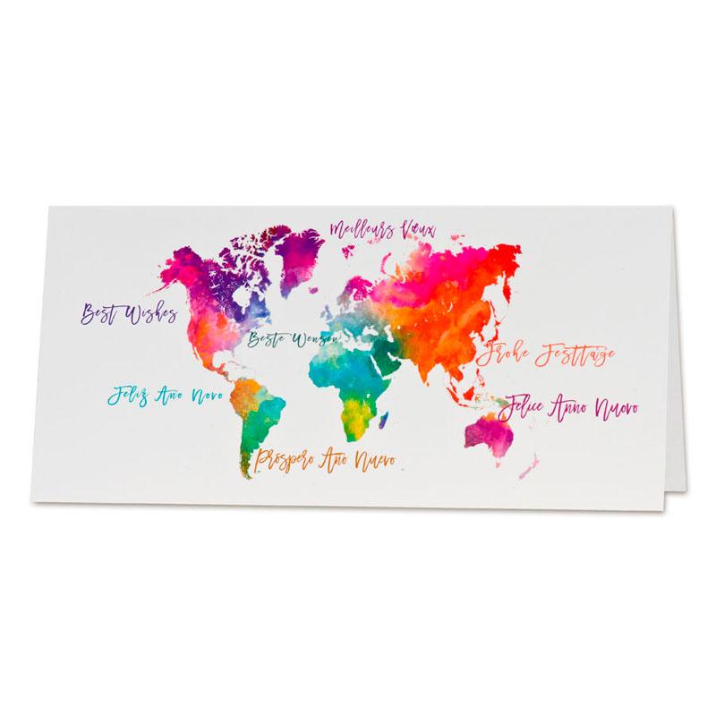 Nieuwjaarskaart met kleurrijke wereldkaart (867.004)