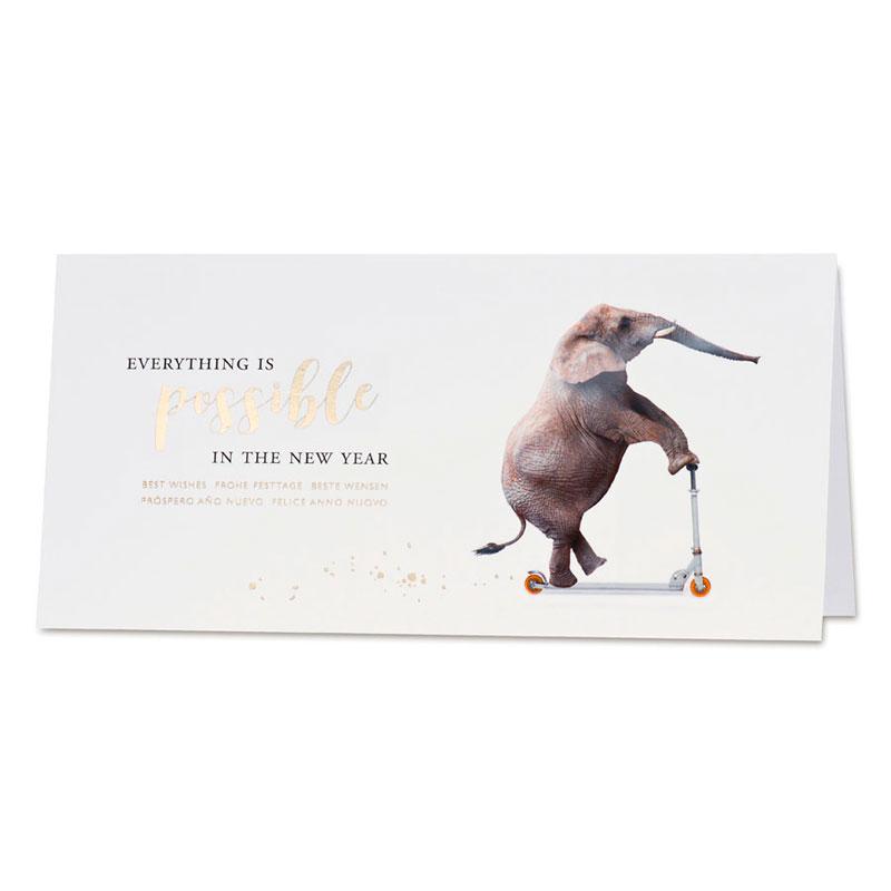 Amusante nieuwjaarskaart met olifant op step (867.006)