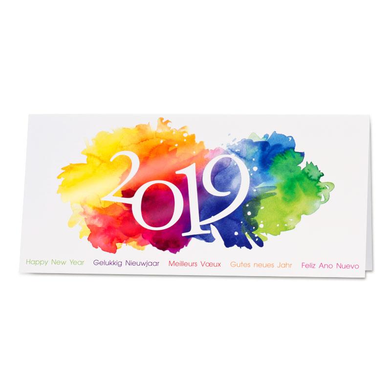 Nieuwjaarskaart met kleurrijke verfspatten (868.008)
