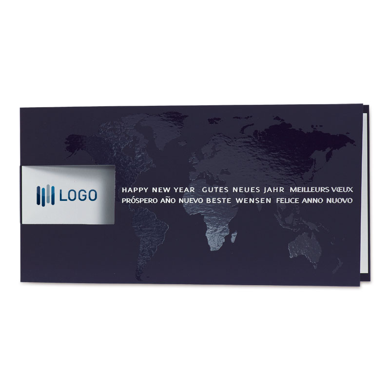 Internationale nieuwjaarskaart met wereldkaart (868.078)