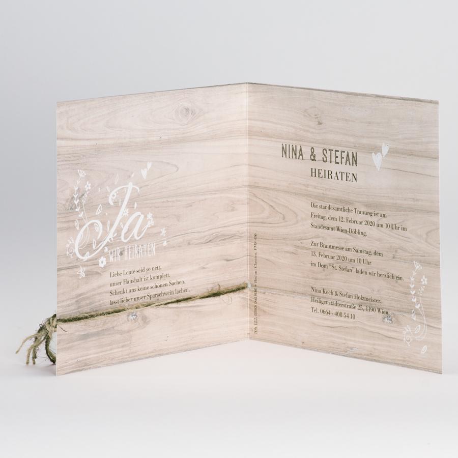 Moderne Karte Mit Holz Look Und Zweifarbigem Naturbraunem Bandchen