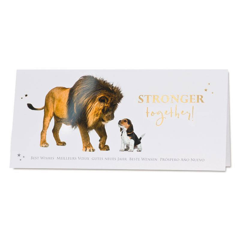 Neujahrskarte mit Löwe und Beagle (848.009) | Büromac