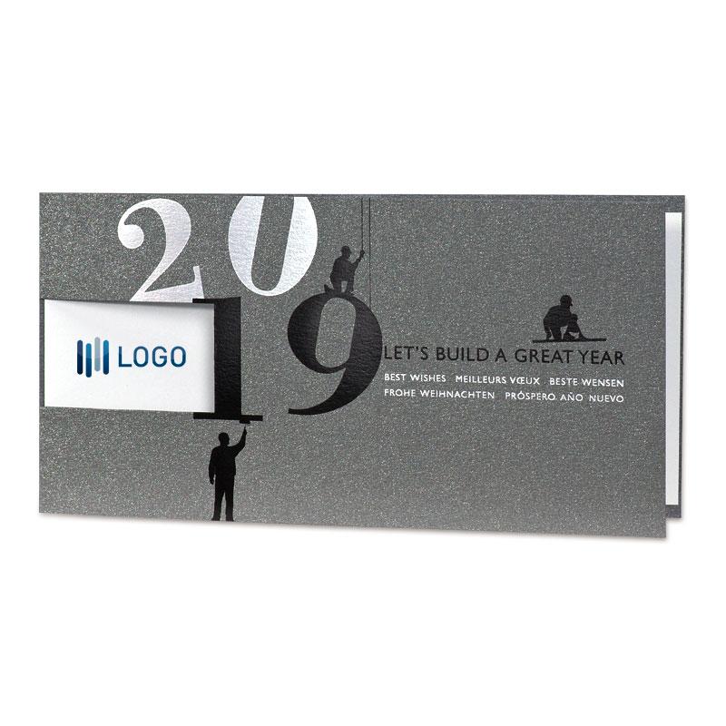 Neujahrskarte für Baufach mit Jahreszahl 2019 u. Fensterstanzung ...