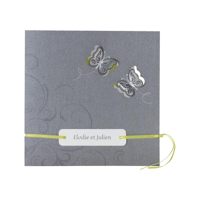 Fabuleux Faire-part gris & vert papillons (112.061) | Buromac KE21