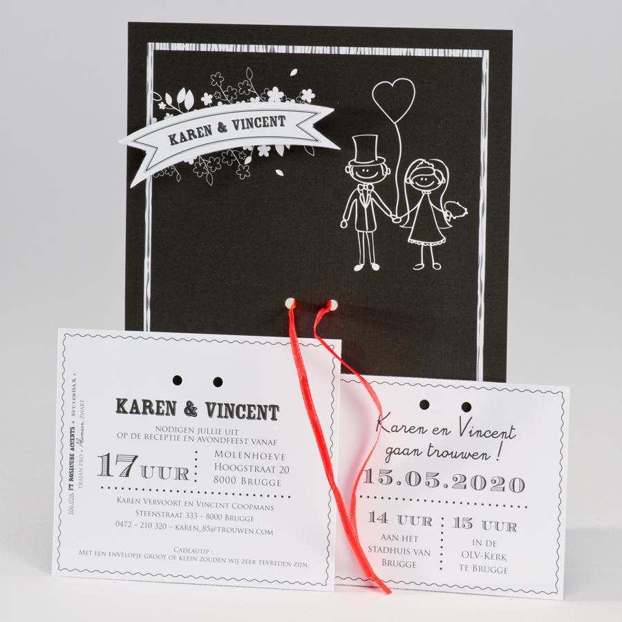 Zwart wit kaart koppel met hartjesballon en fluo lint