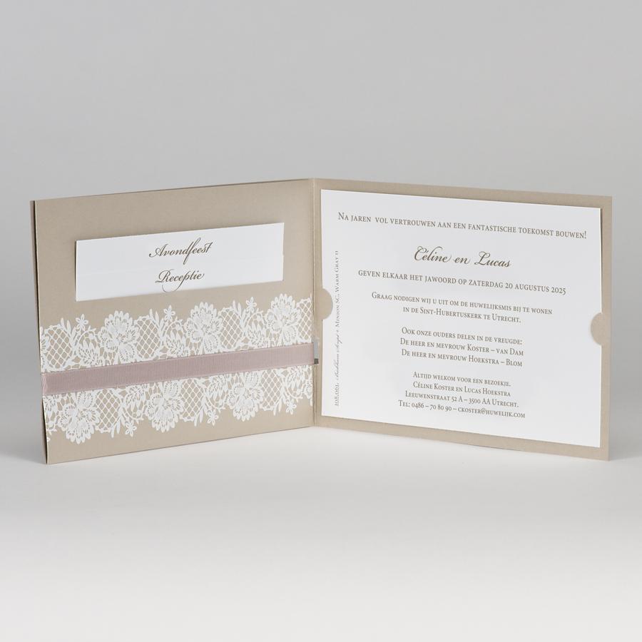 Betere Bruine glinsterende trouwkaart met witte kant (108.061) | Buromac YS-76