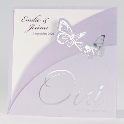Faire-part carré avec pochette lilas et papillons (FR)  (102.057)
