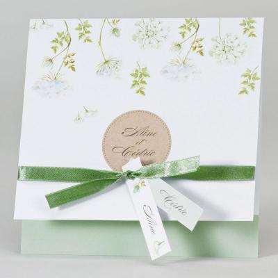 Faire-part aux fleurs vertes (108.008)