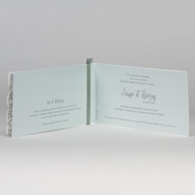 Faire-part blanc avec dentelle - vert menthe (108.089)