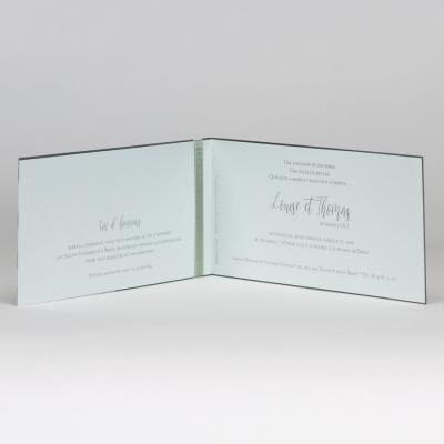 Faire-part mariage argenté avec dentelle - vert menthe (108.106)