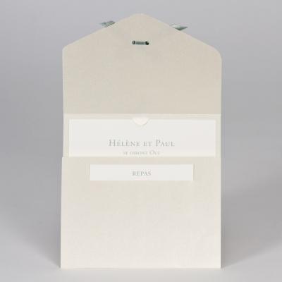 Faire-part dentelle et ruban vert (108.114)