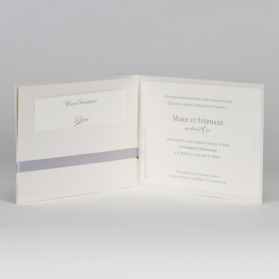 Faire-part sobre avec ruban gris (108.117)