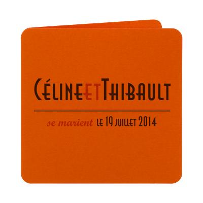 Invitation carrément arrondie orange (313.126)