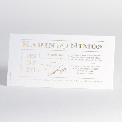 Invitation blanche avec letterpress de luxe (333.022)