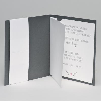 Faire-part naissance gris avec ourson (507.053)