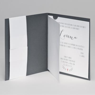 Faire-part gris et ourson (507.153)