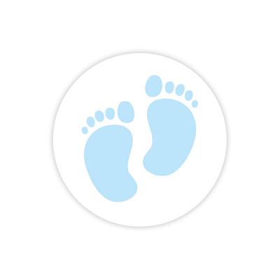 Etiquette avec pieds bébé bleus (572.106)