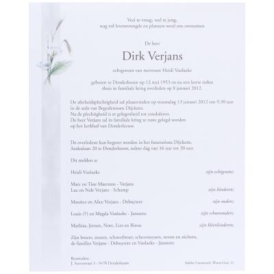 Billet civil avec épis blé et 2 arums (620.083)