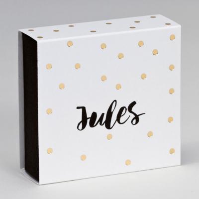 Boîte tiroir pois dorés fond noir (727.136)