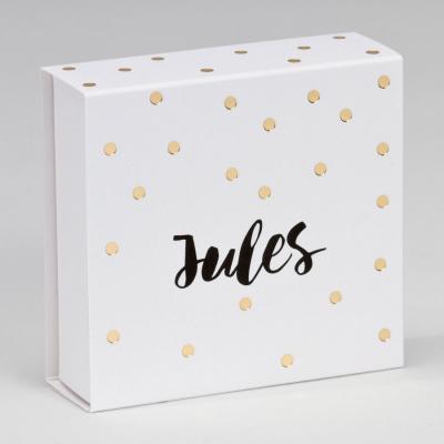 Boîte tiroir pois dorés fond blanc (727.137)