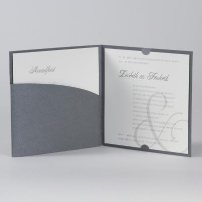 Staalgrijze pochette met &-teken in zilverfolie (105.037)