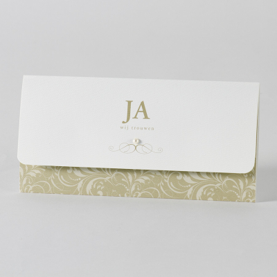 Clutch met beige barokmotief en parel - Ja, wij trouwen (105.067)