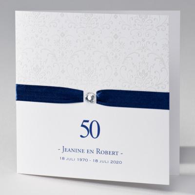 Feestkaart barok met blauw lint en diamant (106.004JUB)