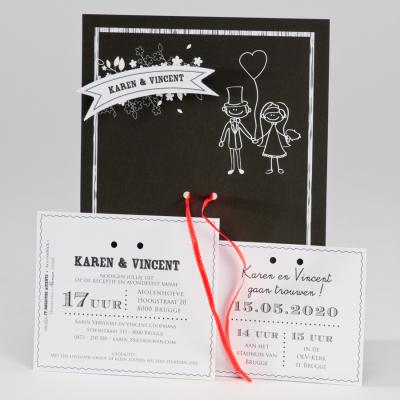 Zwart-wit kaart koppel met hartjesballon en fluo lint (106.028)