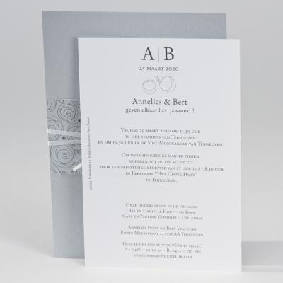 Silver huwelijkskaart met abstracte bloemen (106.033)