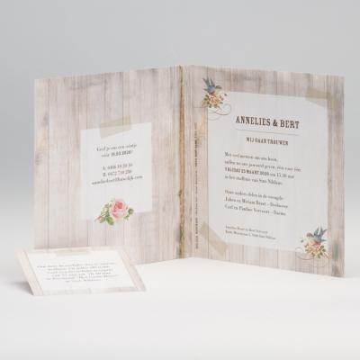 Romantische trouwkaart met steigerhout en vogeltjes (106.034)