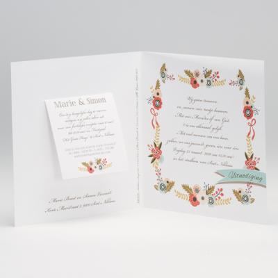 Huwelijksaankondiging met kleurrijke bloemen op houtlook (106.035)