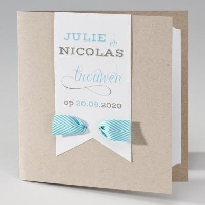 Eco huwelijksaankondiging met tag en wit-blauw gestreept lint (106.038)