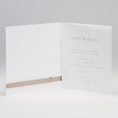 Tijdloze aankondiging met sierlijke calla's in folie - beige (106.049JUB)