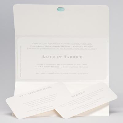 Luxe pochettekaart OUI - muntgroen en beige (106.052)
