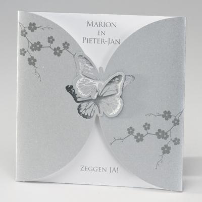 Zilverkleurige pochette met vlinders in zilverfolie (106.069)